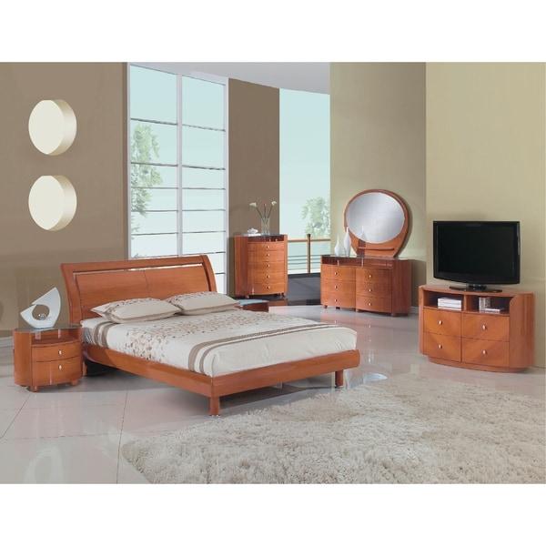 Contemporary Bedroom Furniture Sale: Shop Cosmo Contemporary 4 Piece Cherry Wood Bedroom Set