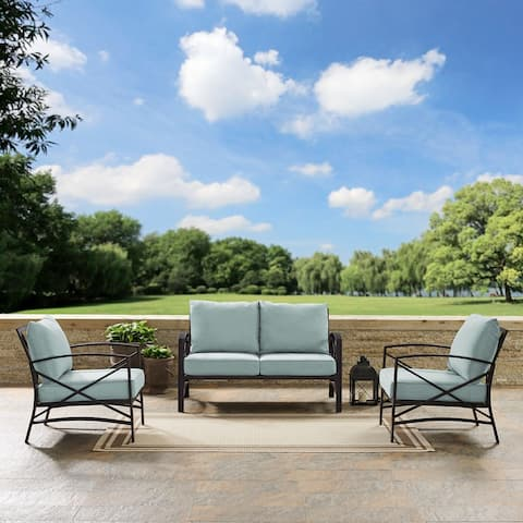 kaplan 3 pc outdoor seating set with mist cushion - loveseat, two outdoor chairs