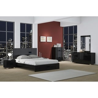 Aria Contemporary 4 Piece Black Wood Bedroom Set