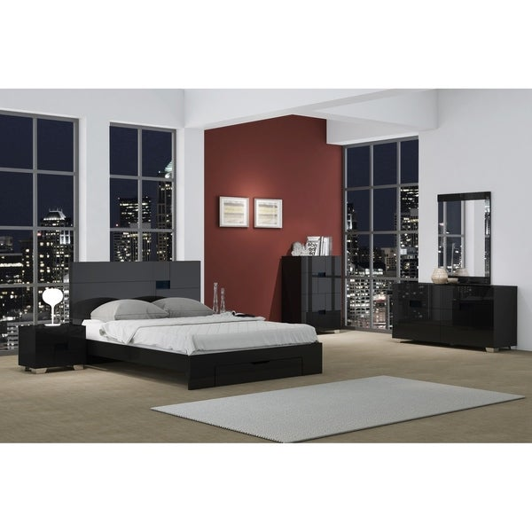 Bedroom Furniture Sales Online: Shop Aria Contemporary 4 Piece Black Wood Bedroom Set