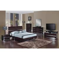 Wynn 4 Piece Dark Brown Wood Bedroom Set