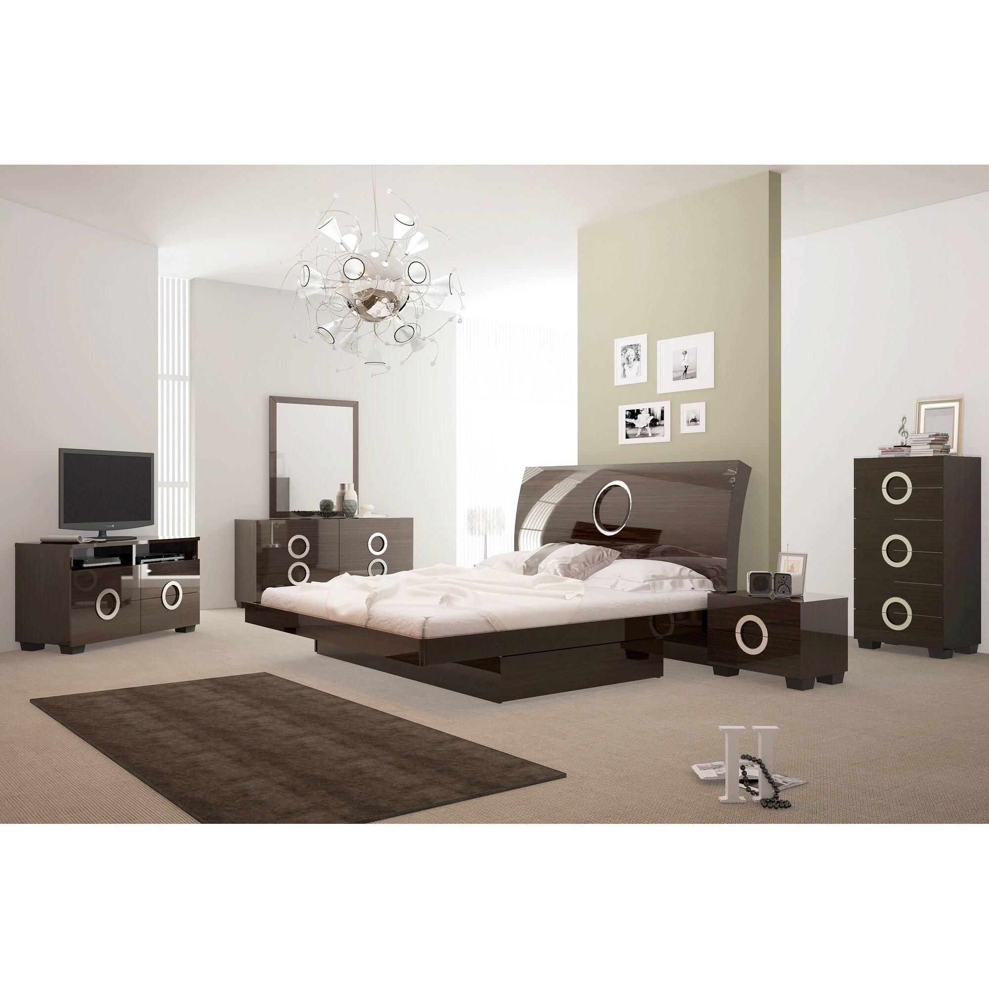 Monte Carlo Contemporary 4 Piece Brown Wood Bedroom Set
