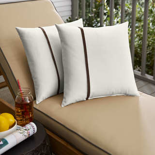 Humble + Haute Sunbrella Canvas Natural and Canvas Bay Brown Single Small Flange Indoor/ Outdoor Pillows, Set of 2