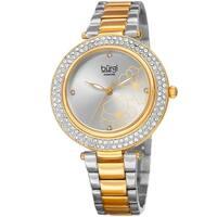 Burgi Women's Diamond Swarovski Crystal Hawaiian Flower Two-tone Bracelet Watch