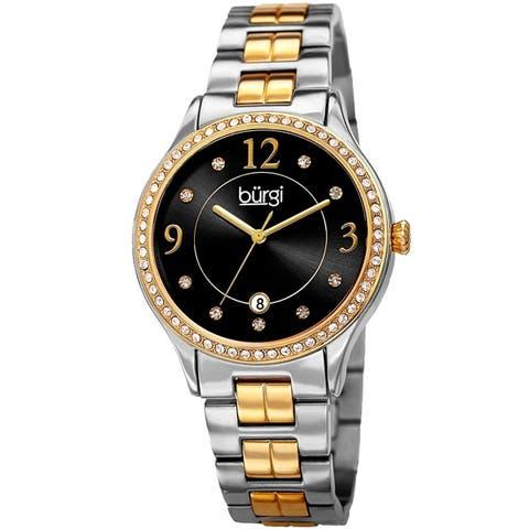 Burgi Women's Swarovski Crystal Date Sunray Dial Two-tone Bracelet Watch