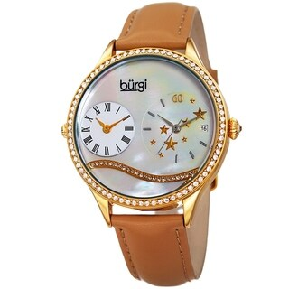 Burgi Women's Crystal Wave Dual Time Gold-Tone Leather Strap Watch with FREE Bangle