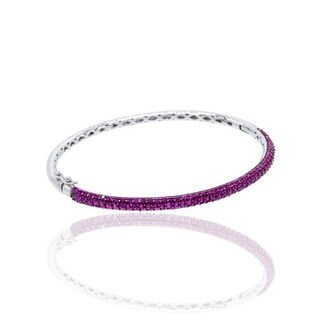 Sterling Silver Cubic Zirconia Pave Bangle
