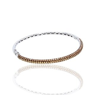 Champagne Cubic Zirconia Pave Stackable SilverBangle