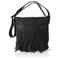 AFONiE Messenger Fringed Leather Shoulder Handbag