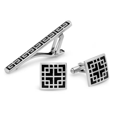 Steeltime Men's Stainless Steel Black Enamel Greek Key Tie Bar and Accented Square Cufflinks Box Set