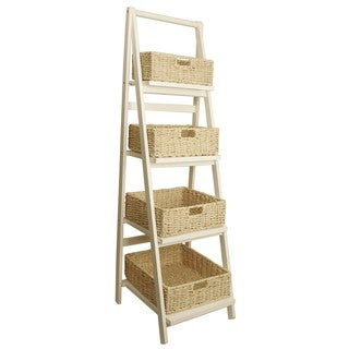 Wald Imports Wood Ladder with Baskets