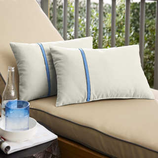Humble + Haute Sunbrella Canvas Natural and Canvas Capri Single Small Flange Indoor/ Outdoor Pillows, Set of 2