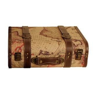 Wald Imports Map Faux Leather Suitcase