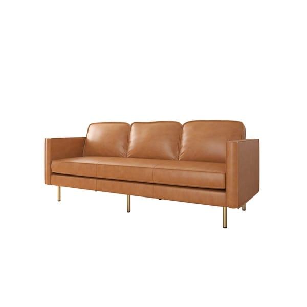 Shop Af Lifestyle Logan Mid Century Modern Leather Sofa