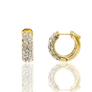 Gold Plated 13mm Crystal Pave Hoop Earring - White