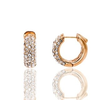 Rose Plated 13mm Crystal Pave Hoop Earring - White
