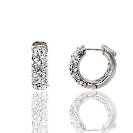 2930dfd79 Shop Pave Crystal White Gold Plated Small Hoop Earrings - Free ...