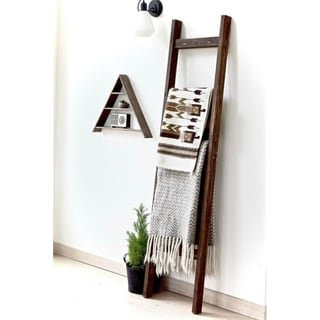 6ft Decorative Blanket Ladder Freestanding Wood Display