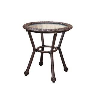 Resin wicker side table with 5MM tempered glass