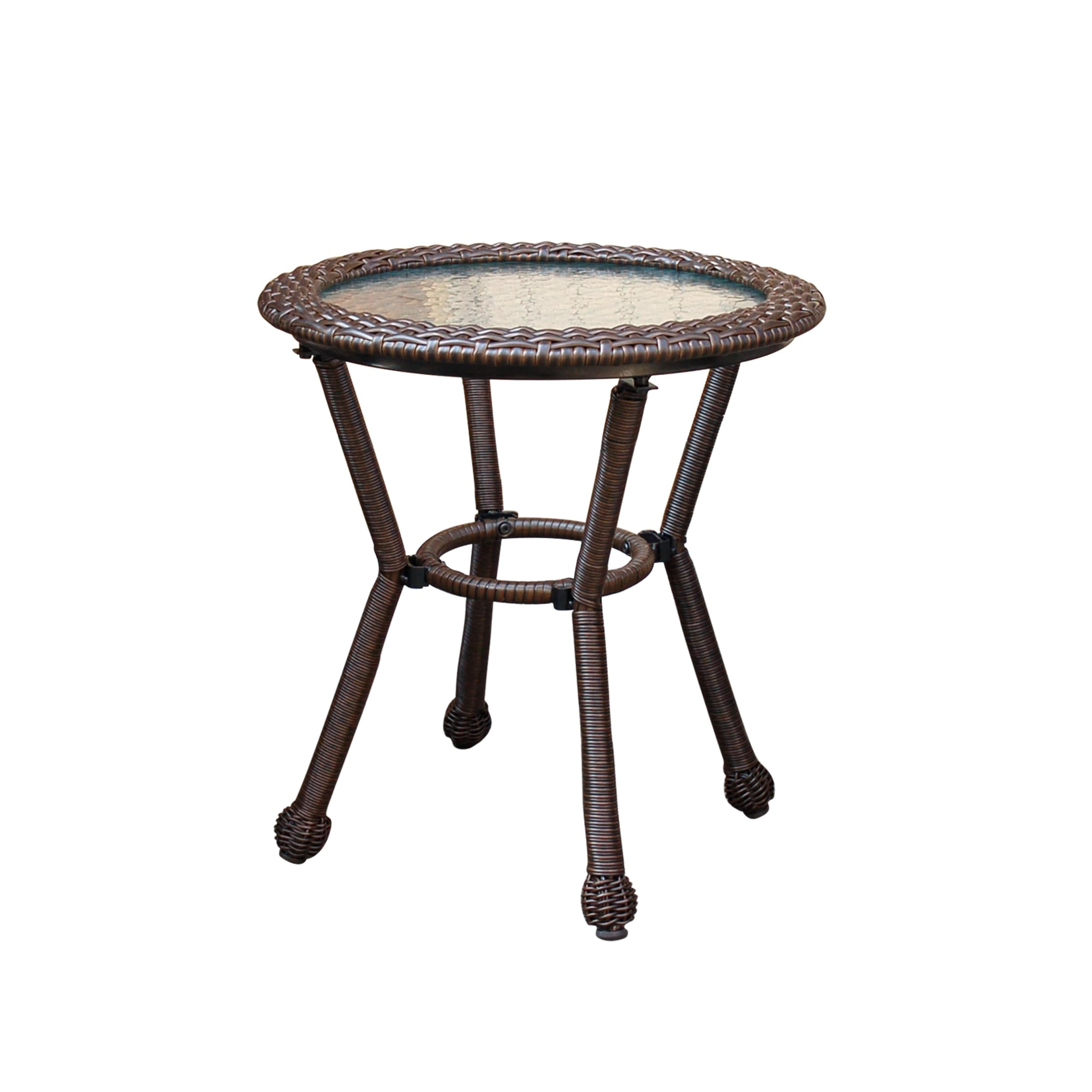 Resin Wicker Side Table With 5mm Tempered Gl