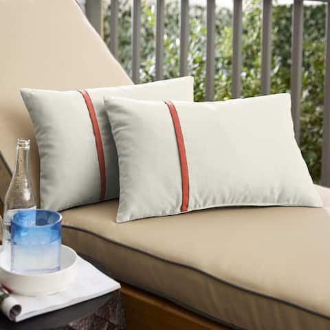 Humble + Haute Sunbrella Canvas Natural and Canvas Melon Single Small Flange Indoor/ Outdoor Pillows, Set of 2