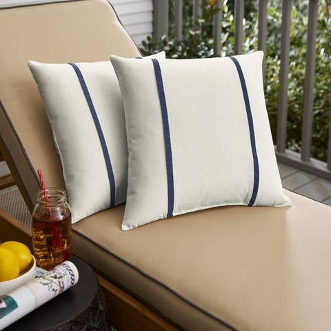 Sunbrella Canvas Natural /Canvas Navy Indoor/ Outdoor Pillows, Set of 2