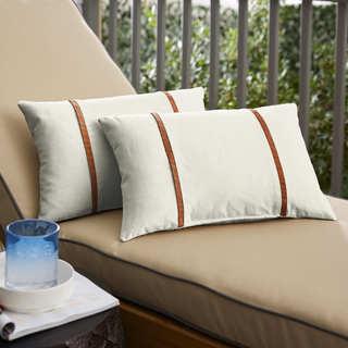 Sunbrella Canvas Natural / Rust Flange Indoor/ Outdoor Pillows, Set of 2