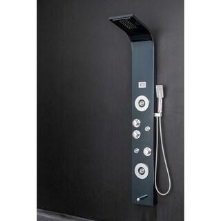 "AKDY SP0070 63"" Rainfall Waterfall Blue Black Stainless Steel Multi-Function Bathroom Shower Panel System w/ LED Head"