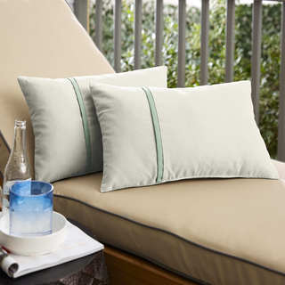 Humble + Haute Sunbrella Canvas Natural and Canvas Spa Single Small Flange Indoor/ Outdoor Pillows, Set of 2