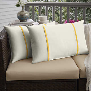Humble + Haute Sunbrella Canvas Natural and Canvas Sunflower Yellow Double Small Flange Indoor/ Outdoor Pillows, Set of 2