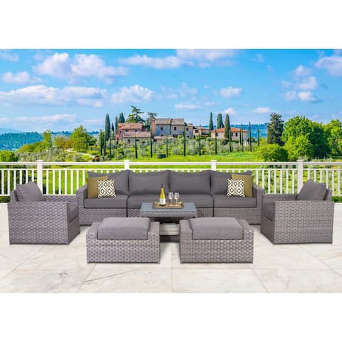 Cromwell 9-piece Resin Wicker and Olefin Conversation Set
