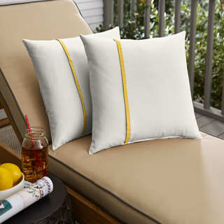 Humble + Haute Sunbrella Canvas Natural and Canvas Sunflower Yellow Single Small Flange Indoor/ Outdoor Pillows, Set of 2