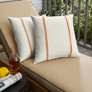 Humble + Haute Sunbrella Canvas Natural and Canvas Tangerine Double Small Flange Indoor/ Outdoor Pillows, Set of 2