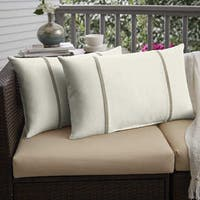 Humble + Haute Sunbrella Canvas Natural and Canvas Taupe Double Small Flange Indoor/ Outdoor Pillows, Set of 2