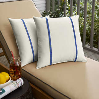 Humble + Haute Sunbrella Canvas Natural and Canvas True Blue Double Small Flange Indoor/ Outdoor Pillows, Set of 2