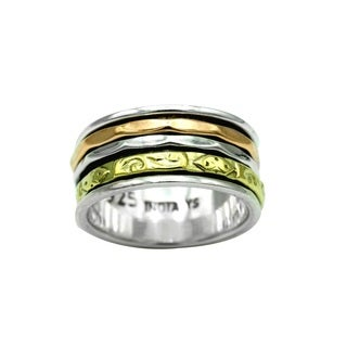 Sterling Silver Spinner Ring with Copper and Brass Accents