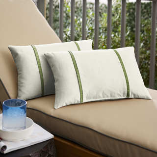 Humble + Haute Sunbrella Canvas Natural and Spectrum Cilantro Double Small Flange Indoor/ Outdoor Pillows, Set of 2
