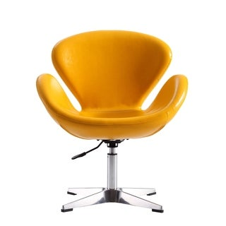Raspberry Leatherette Adjustable Swivel Accent Chair