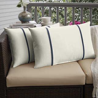 Humble + Haute Sunbrella Canvas Natural and Spectrum Indigo Double Small Flange Indoor/ Outdoor Pillows, Set of 2