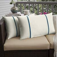 Humble + Haute Sunbrella Canvas Natural and Spectrum Peacock Double Small Flange Indoor/ Outdoor Pillows, Set of 2
