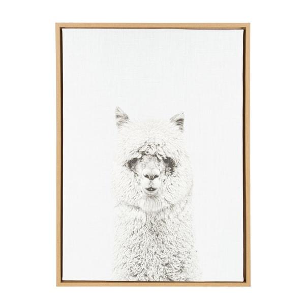 Sylvie Hairy Alpaca Framed Canvas Wall Art, Natural 23 x 33