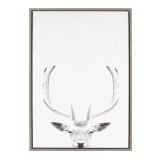 Sylvie Female Deer Framed Canvas Wall Art, Gray 23 x 33