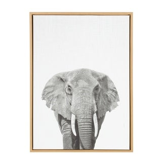 Sylvie Elephant Framed Canvas Wall Art, Natural 23 x 33