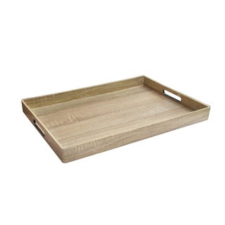 Marble Wood Finish Rectangular Serving Tray 14X19""