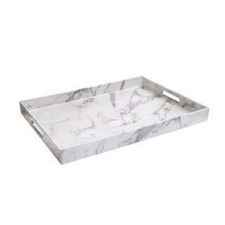 Marble White/Grey Serving Tray 14X19""