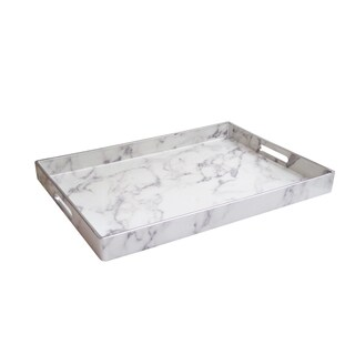 Marble White/Grey/Silver Serving Tray 14X19""