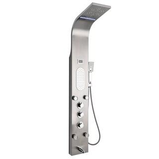 "AKDY SP0075 59"" Rainfall Mist Stainless Steel Multi-Function Bathroom Shower Panel System w/ LED Head Jets Handheld Wand"