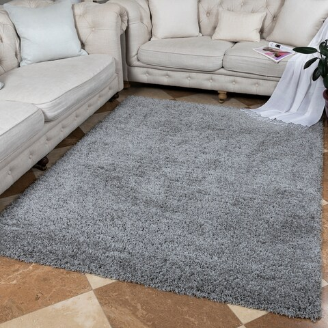 "Ottomanson Soft Cozy Collection Solid Grey Shag Rug - 7'10"" x 9'10"""