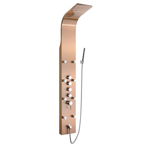 """Golden Vantage SP0058 65"""" Stainless Steel Shower Tower Panel System Spa Rainfall Waterfall Shower Head in Bronze Finish"""