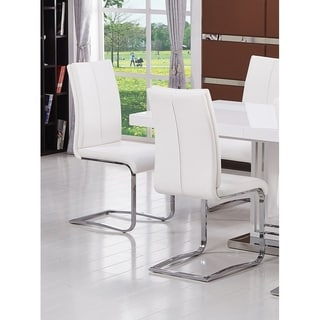 Best Master Furniture Chrome Base/Faux Leather Upholstery Dining/Side Chairs (Set of 2)